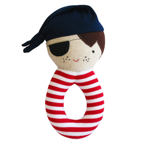 Alimrose. Linen Pirate Grab Rattle Navy & Red - Indie Indie Bang! Bang!