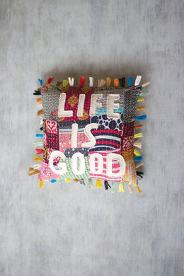 Kantha Pillow - Life is Good - Indie Indie Bang! Bang!