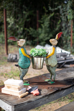 Recycled Iron Rabbits With Planter - Indie Indie Bang! Bang!