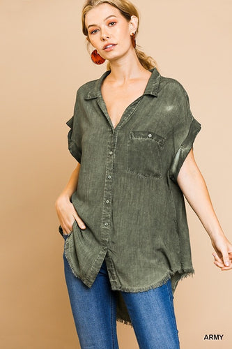 Washed Button Up Short Sleeve Top
