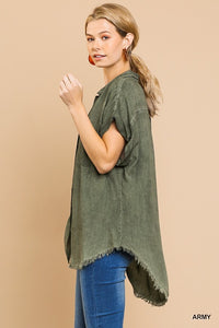 Washed Button Up Short Sleeve Top - Indie Indie Bang! Bang!