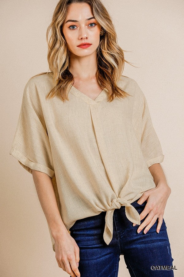 Holly V-Neck Front Tie Top - Indie Indie Bang! Bang!