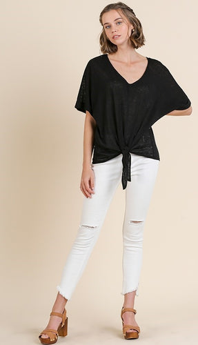 V-Neck Slub Knit Top