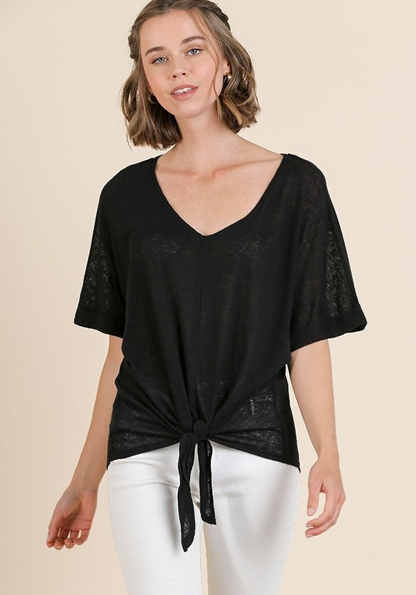 V-Neck Slub Knit Top - Indie Indie Bang! Bang!