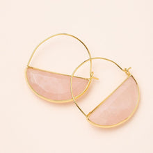 Load image into Gallery viewer, Rose Quartz Gold Prism Hoops - Indie Indie Bang! Bang!