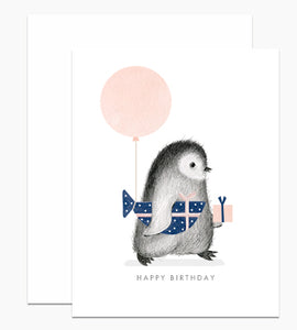 Penguin With Wrapped Fish Present, Happy Birthday - Indie Indie Bang! Bang!