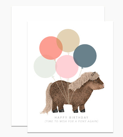 Time to Wish for a Pony Again Birthday Card - Indie Indie Bang! Bang!