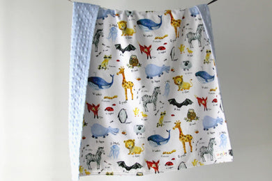 Double Minky Blanket - ABC Animals - Indie Indie Bang! Bang!