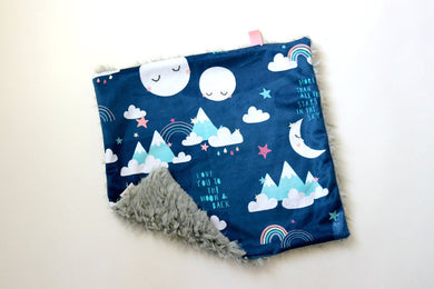 Dream Lovie. Security Blanket - Navy Rainbow and Moons - Indie Indie Bang! Bang!