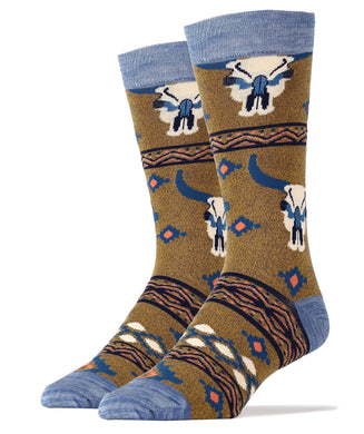 Long Horn Summer Men's Crew Socks - Indie Indie Bang! Bang!