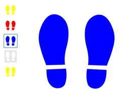 Footprint floor markers available in yellow, red, blue and white