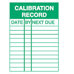 Brady WO-E CALIBRATION REC 100X150MM Inspection Placards - Calibration Record 256906