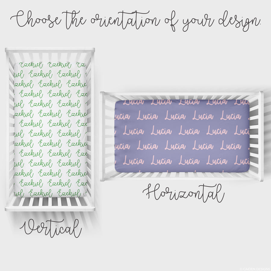 Heart Personalized Name Crib Sheet