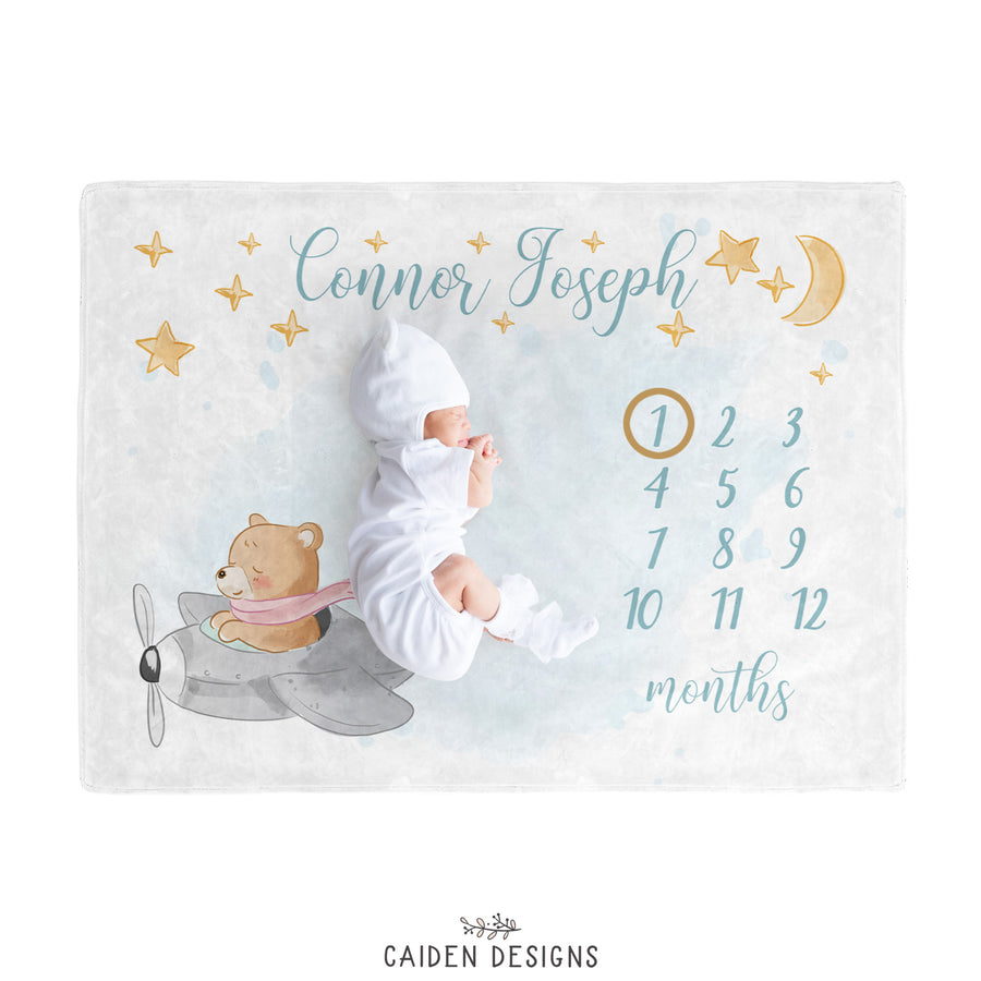 Flying Bear Personalized Baby Milestone Blanket