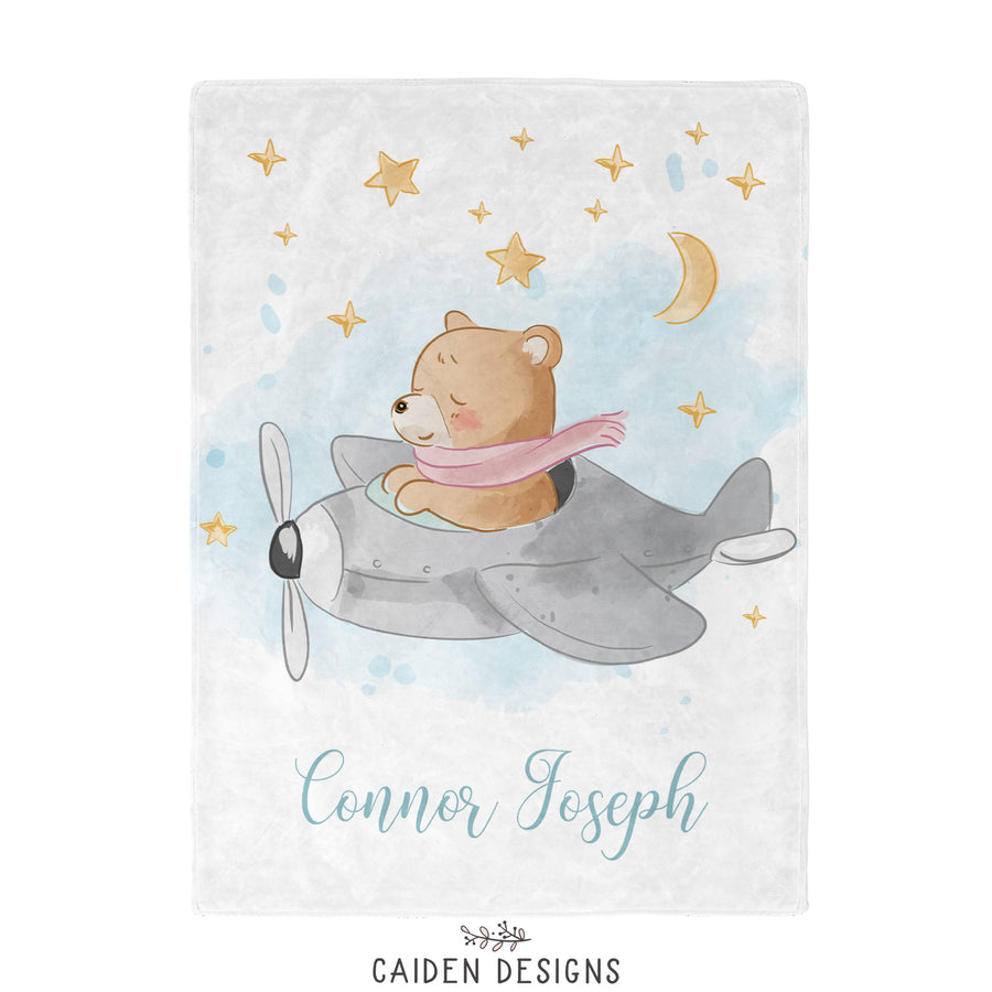 Flying Bear Personalized Baby Blanket