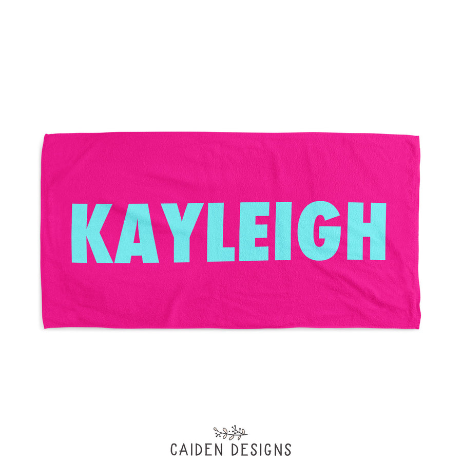 Bold Name Personalized Beach Towel
