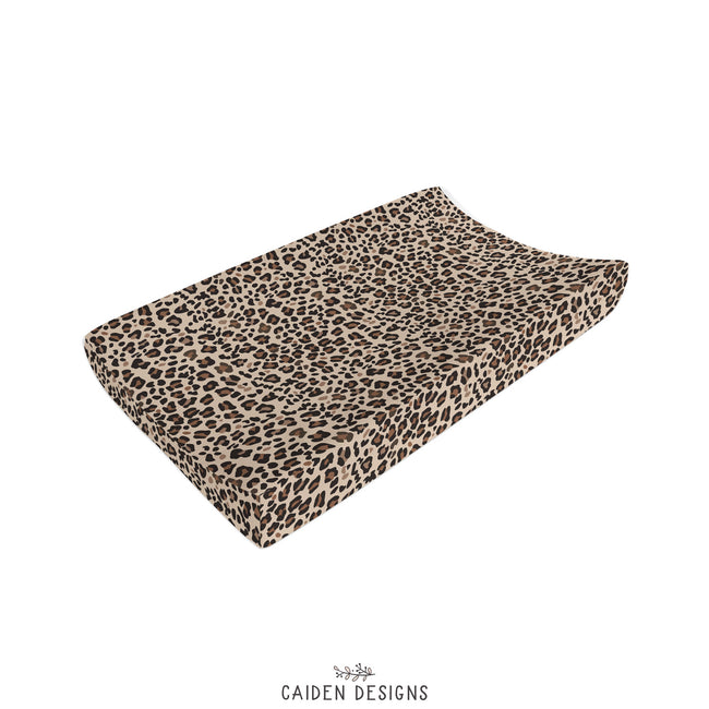 Brown Leopard Print Changing Pad Cover