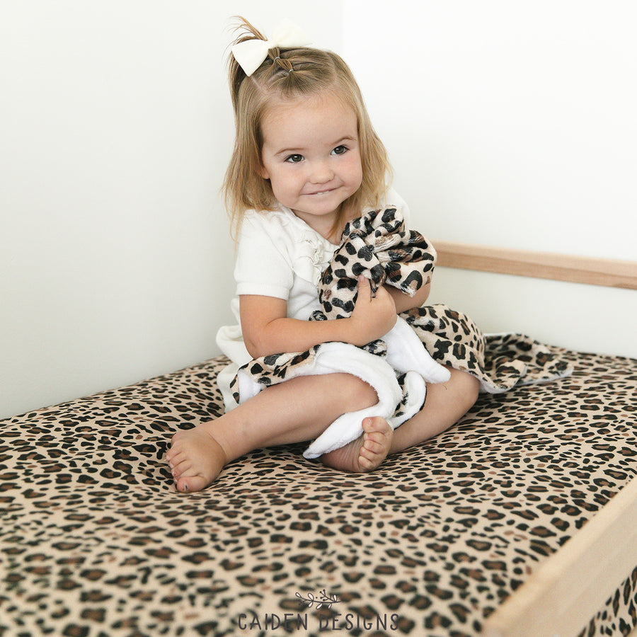 Brown Leopard Print Crib Sheet