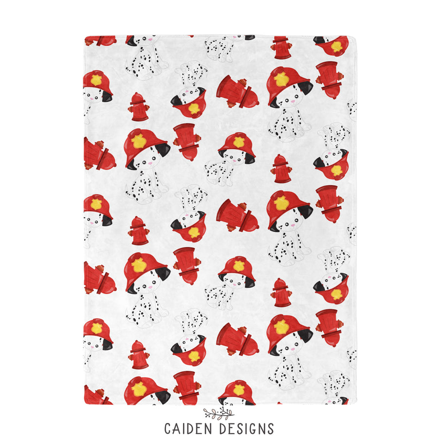Dalmatian Firefighter Personalized Baby Blanket