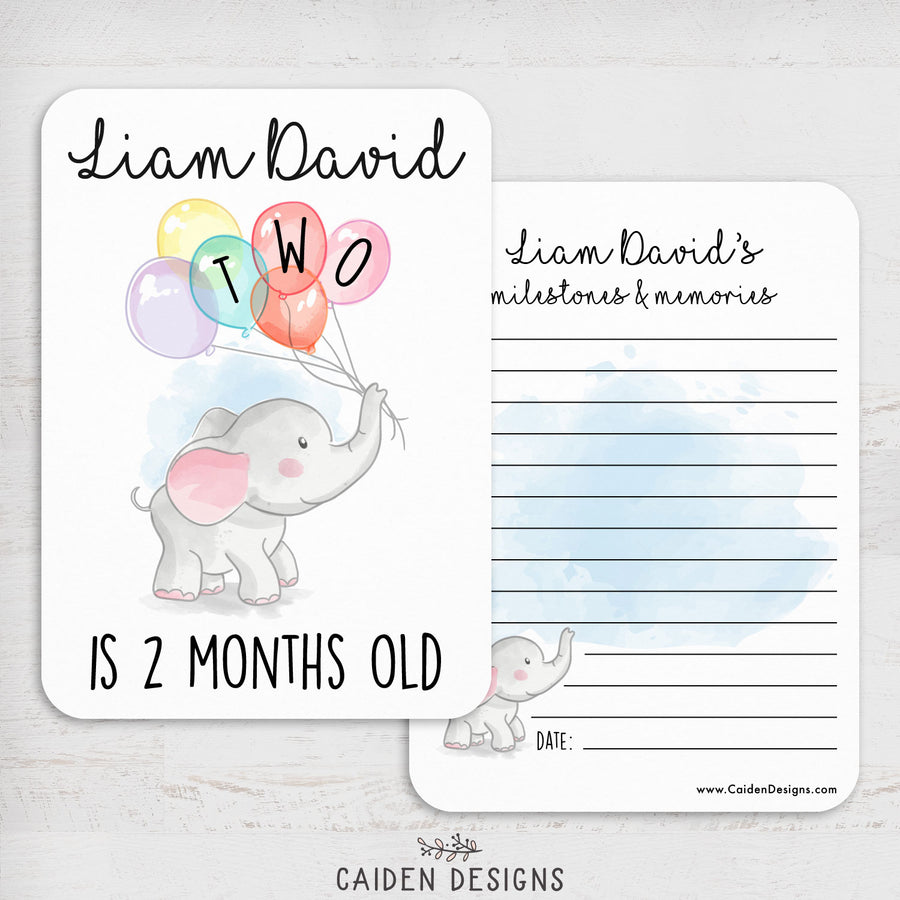 Elephant & Balloons Personalized Baby Milestone Cards
