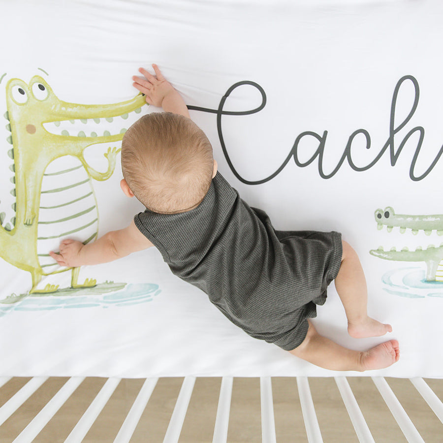 'Gator' Alligator Personalized Crib Sheet