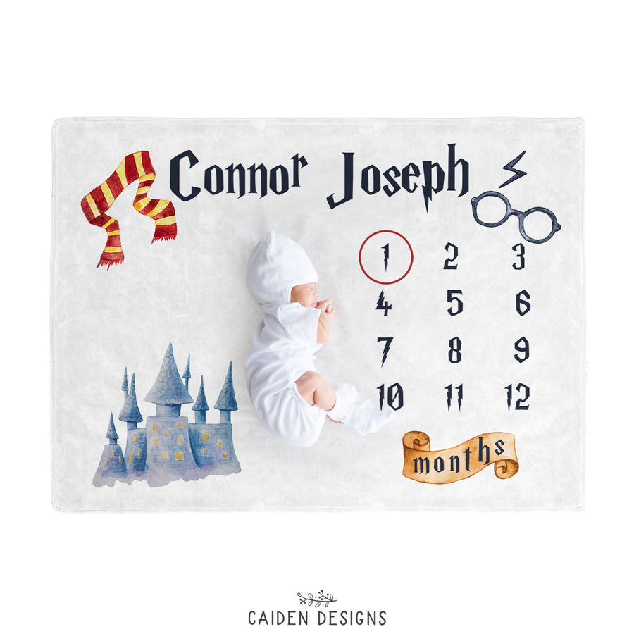 Wizard Harry Potter Inspired Personalized Baby Milestone Blanket