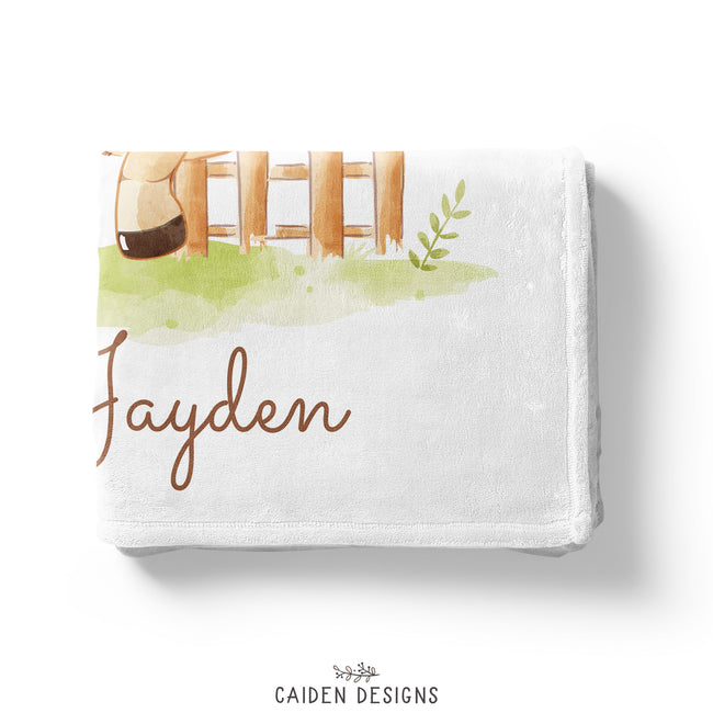 Horse Personalized Baby Blanket