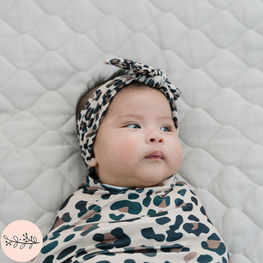 Brown Leopard Print Baby Swaddle Blanket