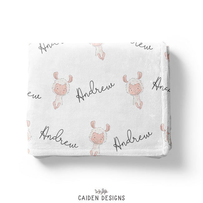 Personalized Girl/Boy Llama Baby Blanket