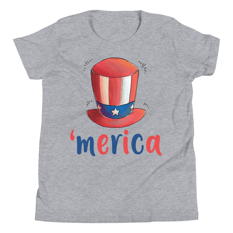 Uncle Sam Hat 'merica Youth Short Sleeve T-Shirt