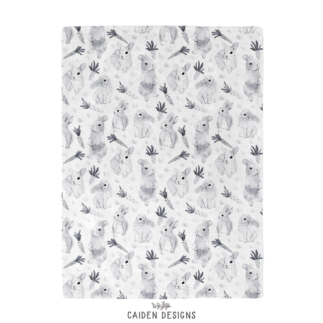 Monochrome Watercolor Bunny Baby Blanket