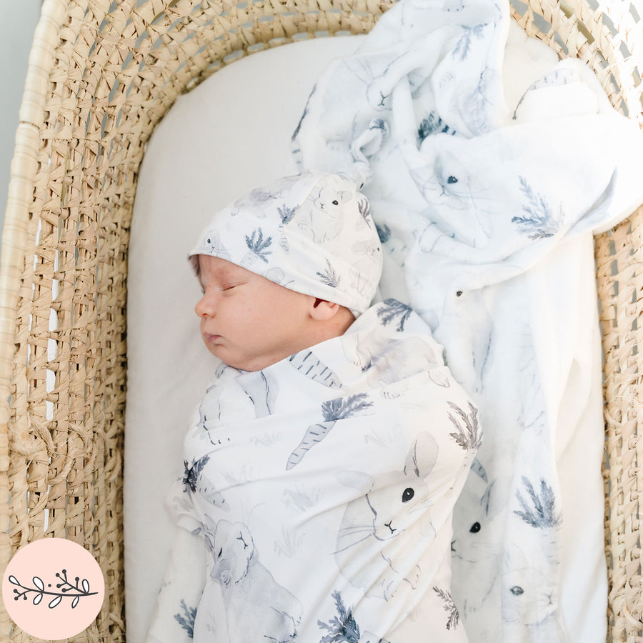 Monochrome Watercolor Bunny Baby Swaddle Blanket