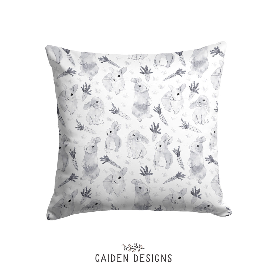 Monochrome Watercolor Bunny Nursery Pillow