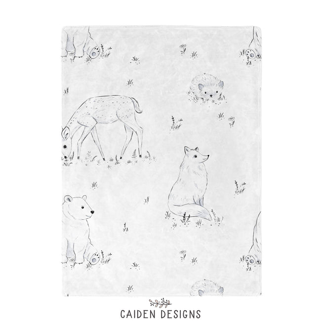 Monochrome Watercolor Woodland Baby Blanket