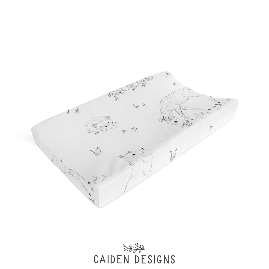 Monochrome Watercolor Woodland Changing Pad Cover
