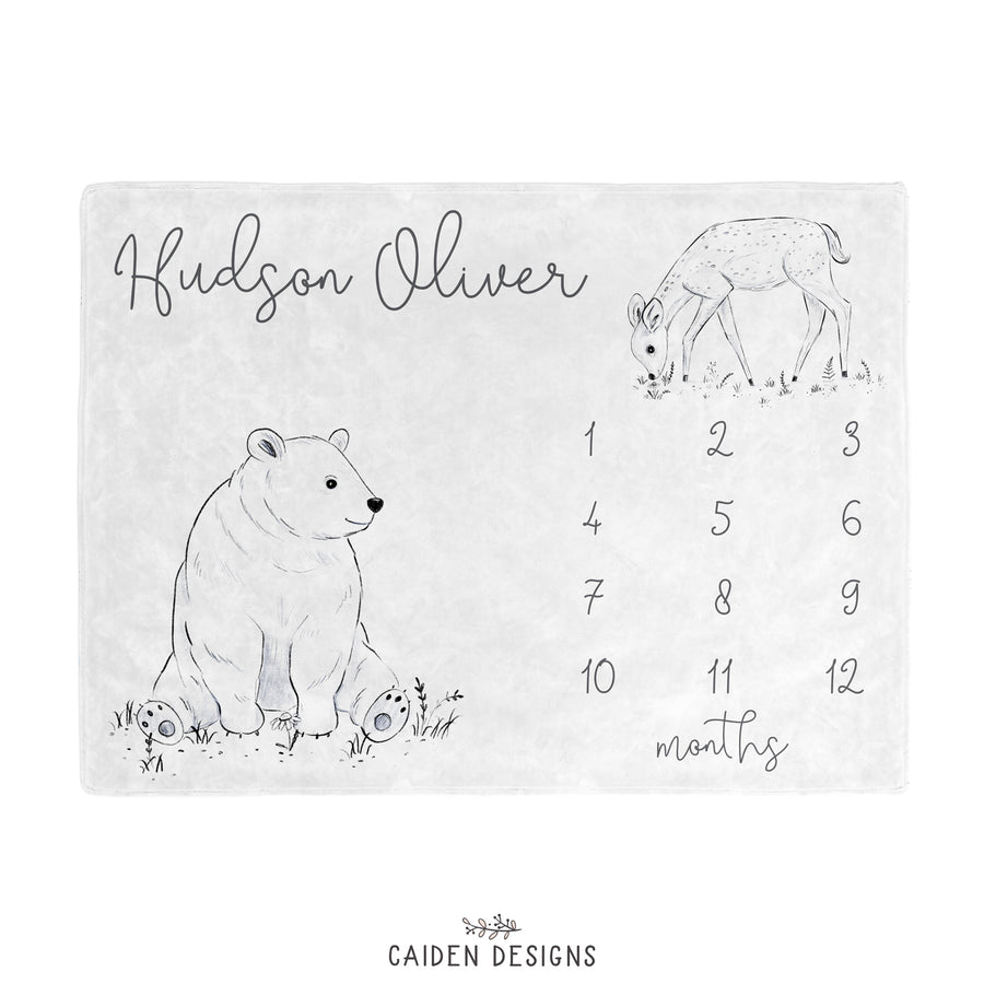 Watercolor Woodland Personalized Baby Milestone Blanket