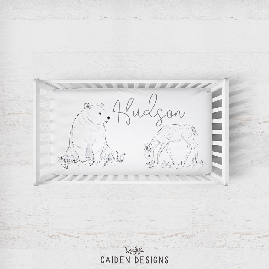 Monochrome Watercolor Woodland Personalized Crib Sheet