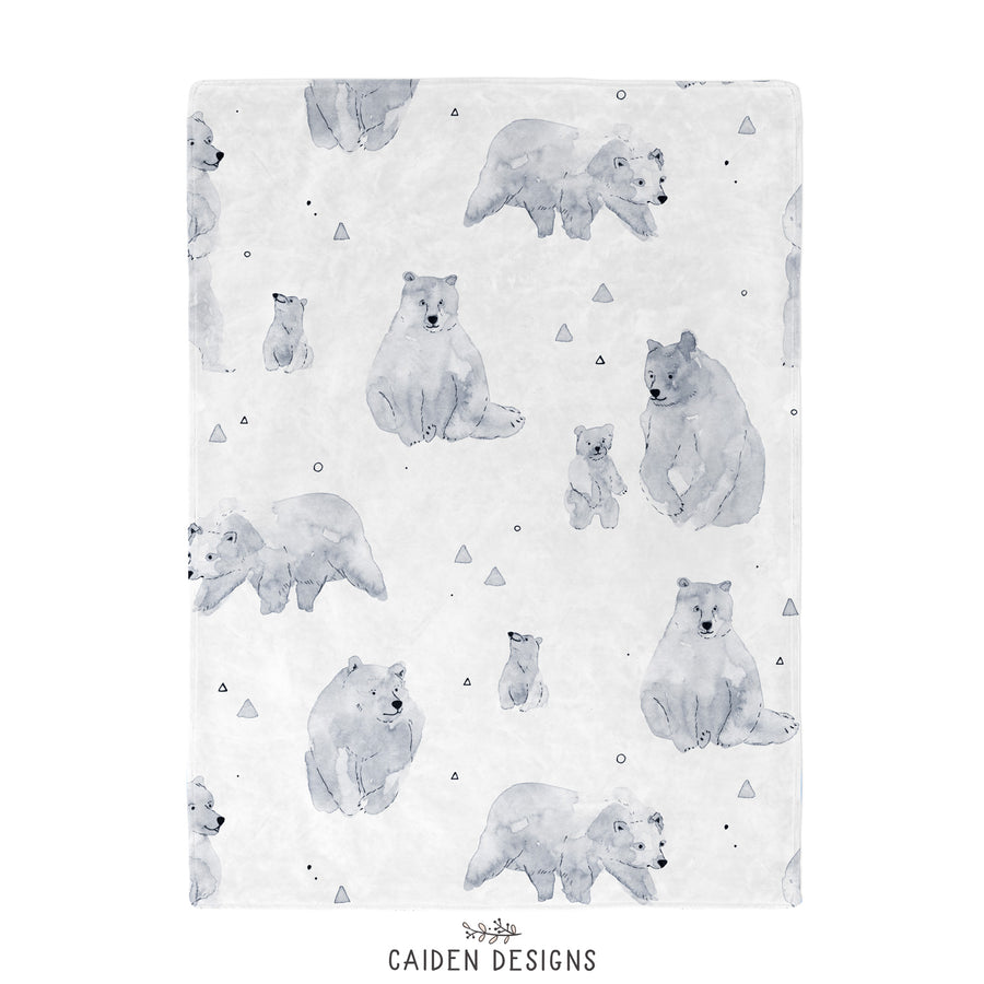 Monochrome Watercolor Mama Bear Baby Blanket