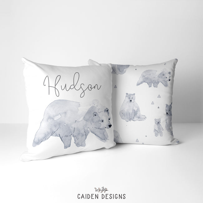 Monochrome Watercolor Mama Bear Personalized Pillow