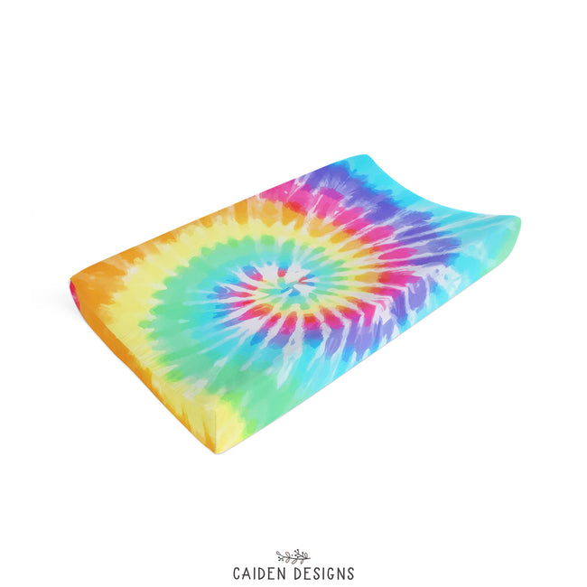 Rainbow Tie Dye Personalized Changing Pad Cover