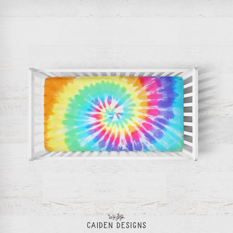 Rainbow Tie Dye Personalized Crib Sheet