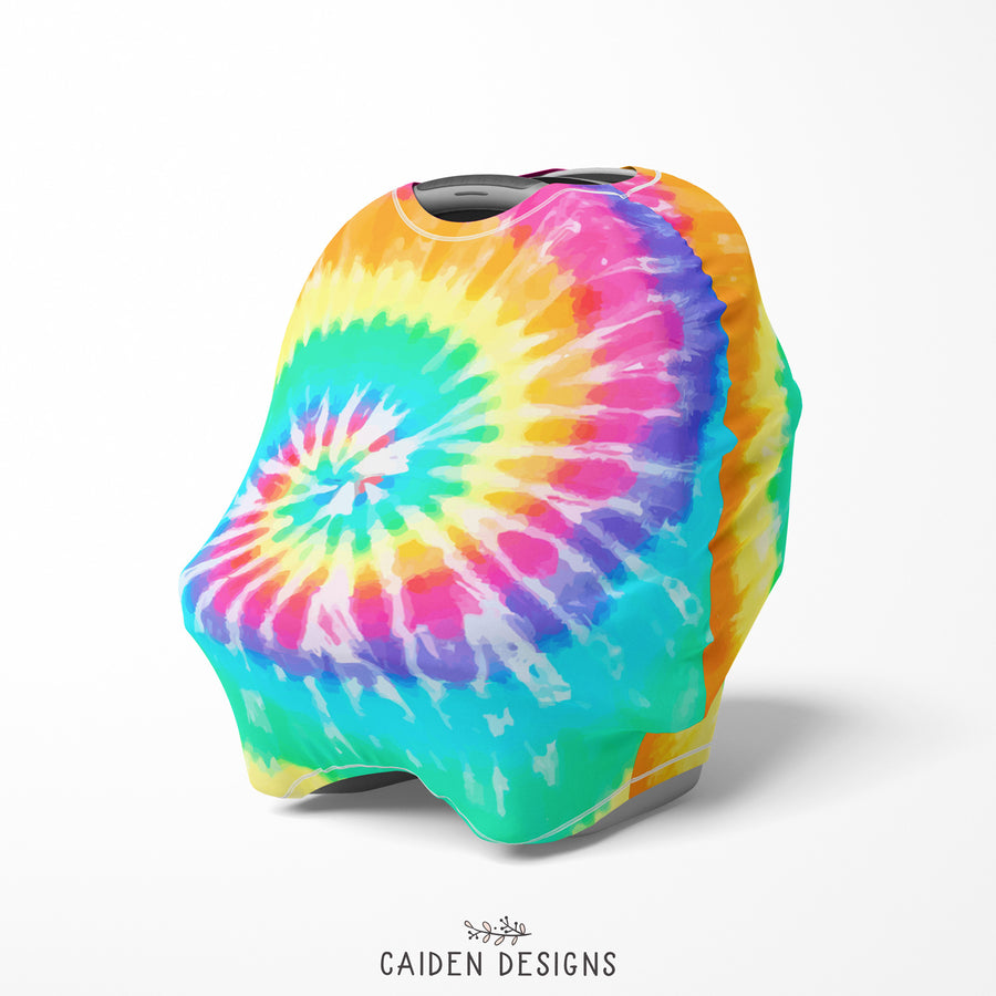 Rainbow Tie Dye Multi-Use Baby Car Seat Cover