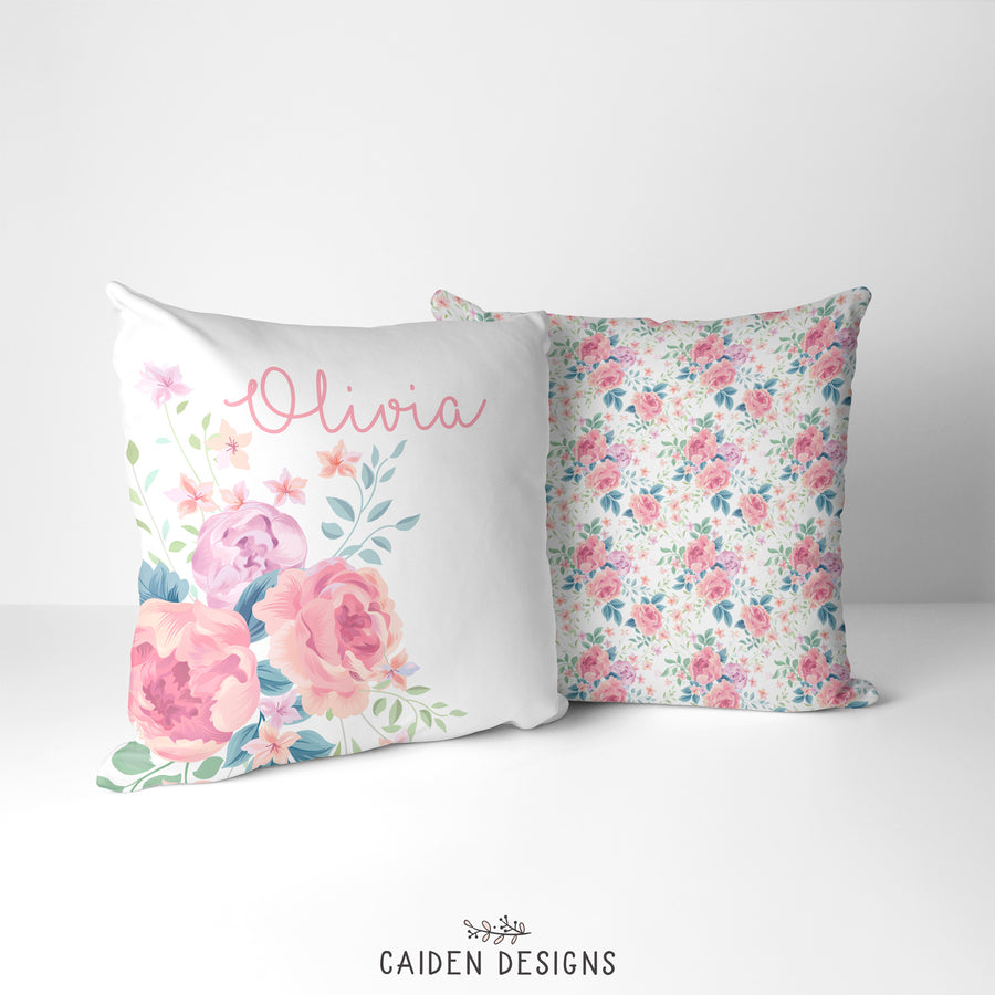 Olivia Floral Personalized Pillow