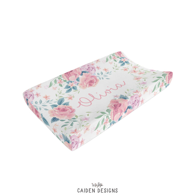 Olivia Floral Personalized Changing Pad Cover