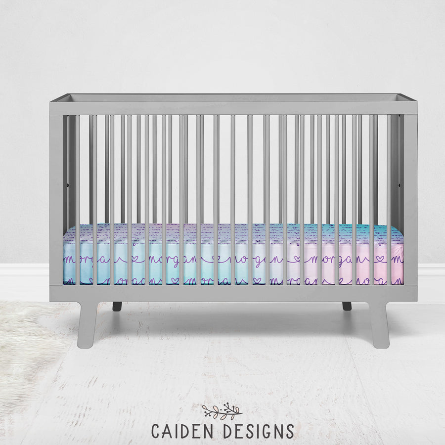 Pastel Rainbow Ombre Personalized Crib Sheet