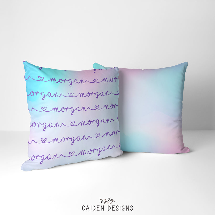 Pastel Rainbow Ombre Personalized Pillow