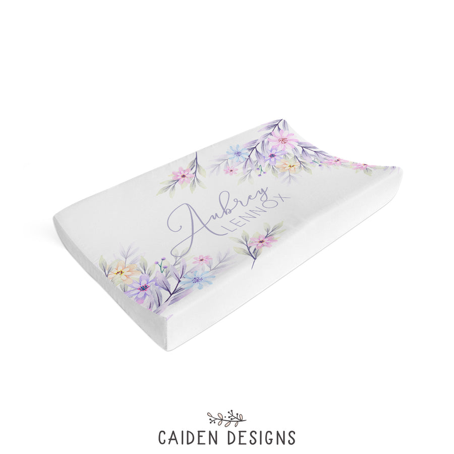 Pastel Watercolor Flowers Personalized Changing Pad Cover