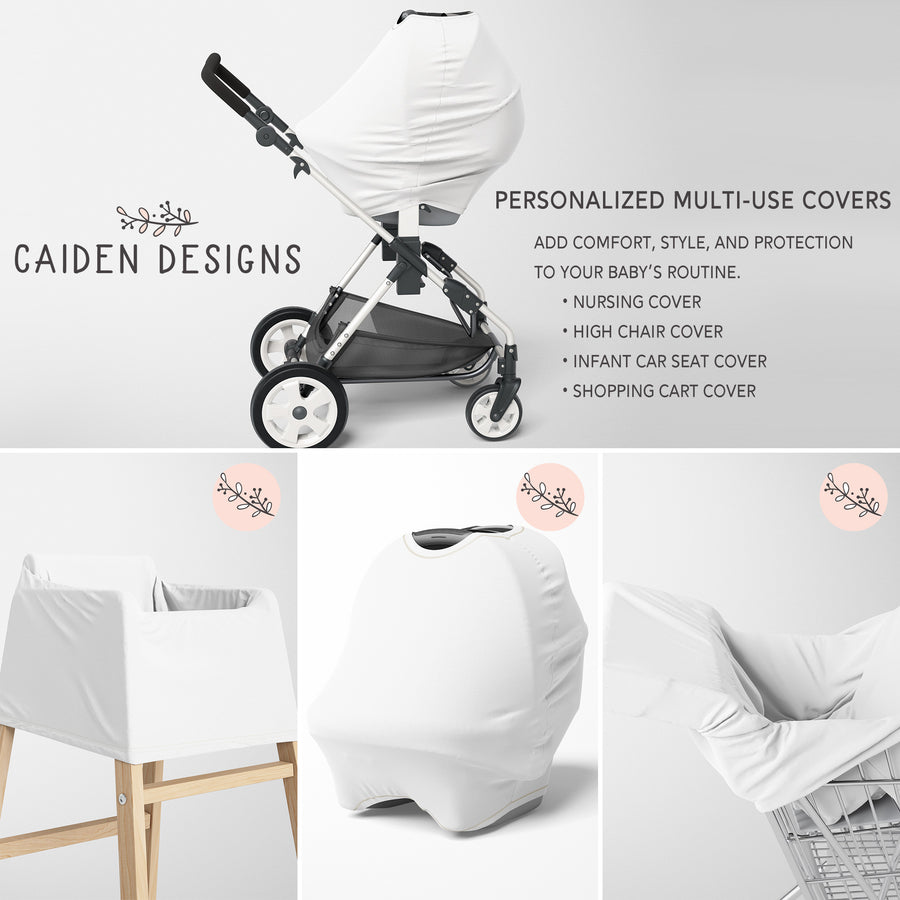 Monochrome Watercolor Woodland Baby Car Seat Cover