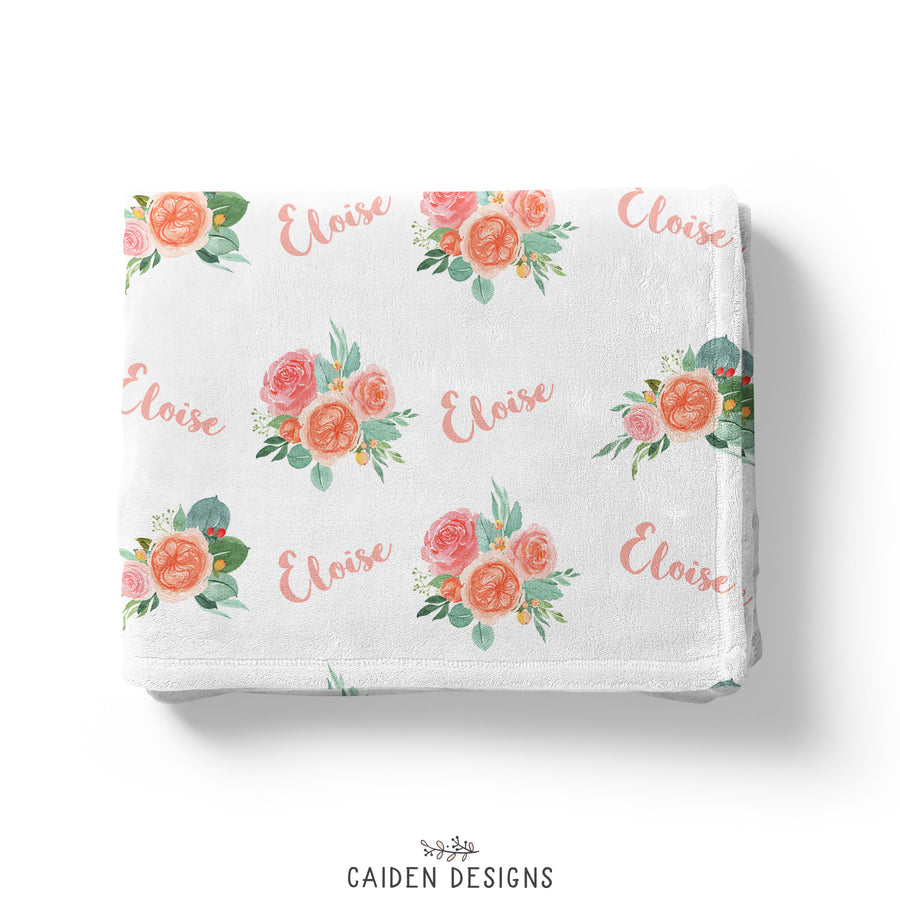 Peach Floral Personalized Blanket
