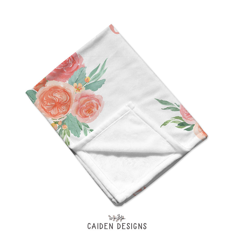 Peach Floral Personalized Baby Blanket